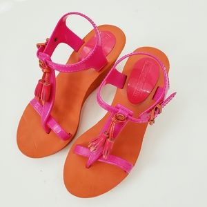 Juicy Couture | Lily Wedges Pink Orange Size 7